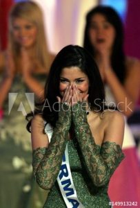 Shermine Shahrivar of Germany reacts after winning Miss Europe in Paris
