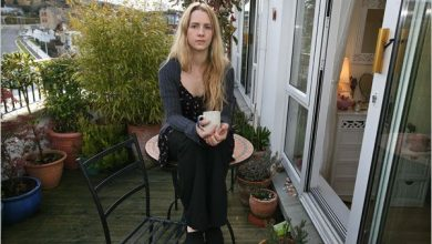 Emma Linnane in her apartment in Dublin